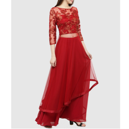 ladies red floral print choli AOA149