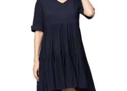 ladies navy blue short dress FOF351