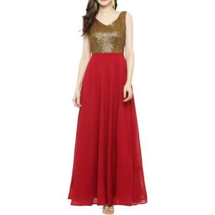 ladies red and golden sequence dress AOA98